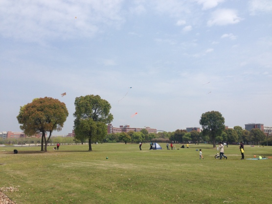 Beautiful day on campus, people flying kites